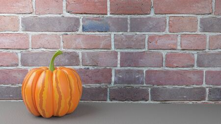 great: 3d Illustration of the Great Pumpkin on the Background of the Brick Wall