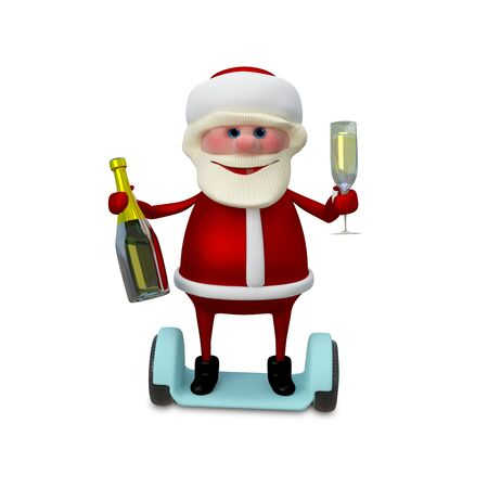 revelry: 3d Illustration of Santa with Champagne on Electric Scooter