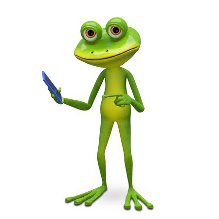 3d Illustration Frog and Smartphone on a White Background