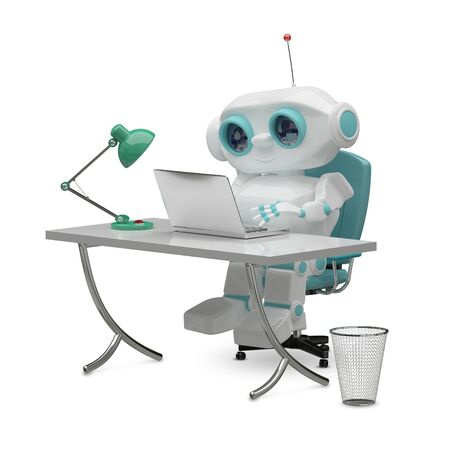 3D Illustration of the Little Robot Behind the Table on White Background Stock Photo