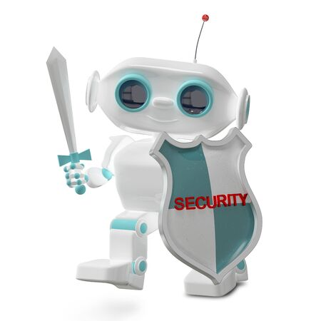 3D Illustration Security Little Robot on White Background
