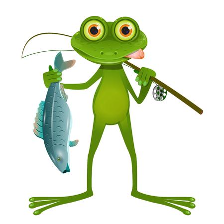 Illustration pêcheur grenouille aux yeux de lunettes sur fond blanc Vecteurs