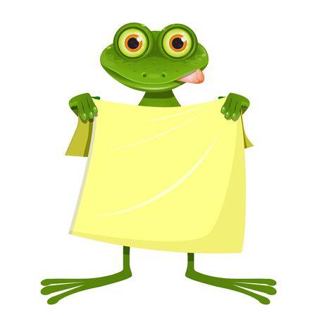 白い背景に黄色いタオルを持つイラストゴーグル目のカエル  イラスト・ベクター素材