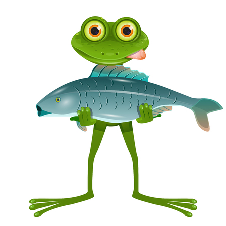 Illustration A Goggle-Eyed Frog with a Fish on a White Background Ilustração