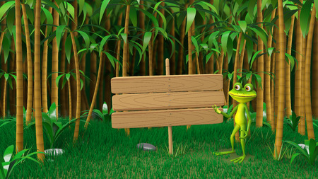3D Frog Illustrations in the Jungle with Wooden Plate