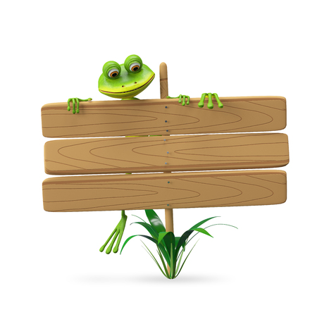 3D Illustration Frog with Wooden Plaque on a White Background