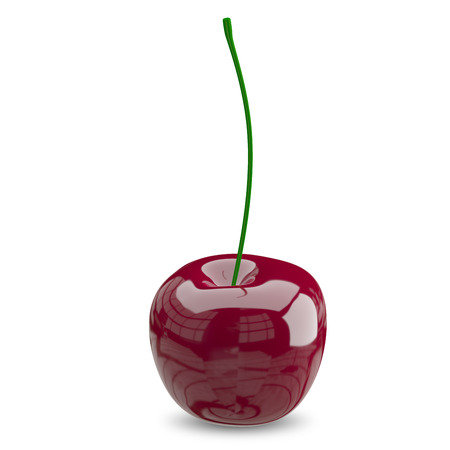 3D Illustration of a Ripe Cherry on a White Background