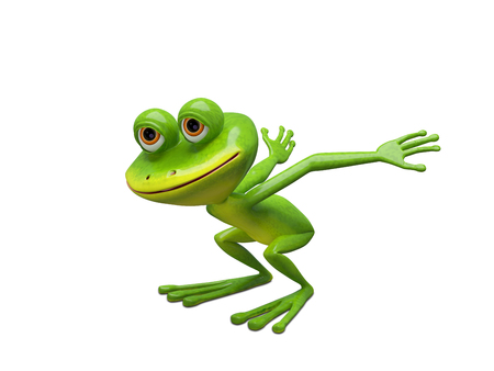 3D Illustration of a Frog Preparing for a Leap on a White Background