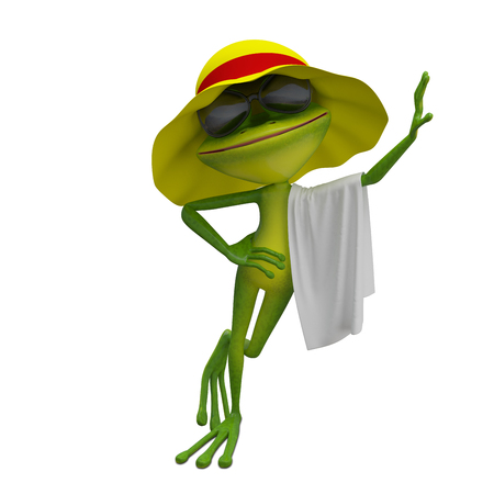 3D Illustration of the Frog in Yellow Panama with Towel on a White Background 写真素材