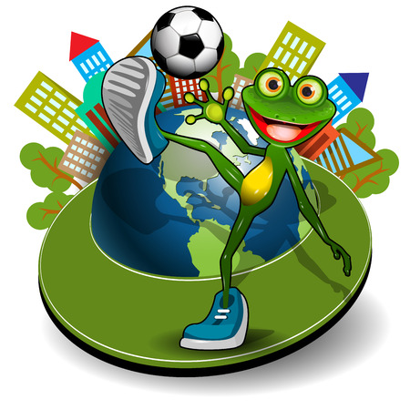 Illustration Frog with Ball and Globe on a White Background  イラスト・ベクター素材