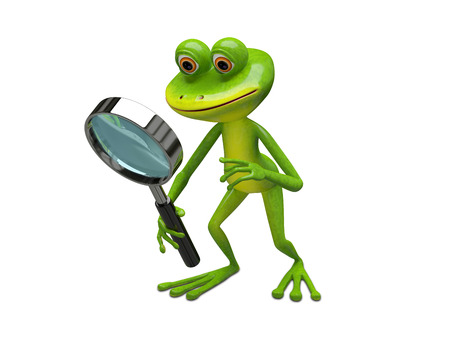 3D Illustration Frog with Magnifier on a White Background