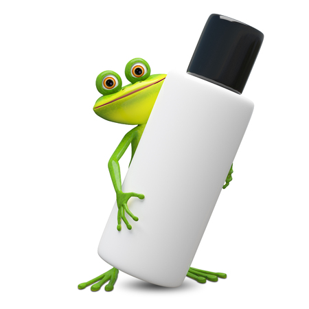 3D Illustration Frog with Big Flacon on a White Background Banco de Imagens