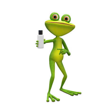 3D Illustration Frog with Flacon on a White Background