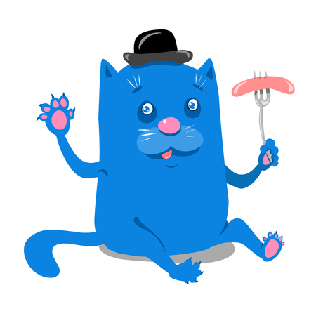 Stock Illustration Blue Cat with Sausage on a White Background Ilustrace
