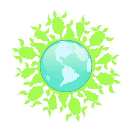 Stock Illustration Abstract Globe with Green Plants on a White Background
