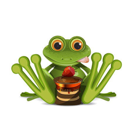 Stock Illustration Frog with Cake on a White Background 向量圖像