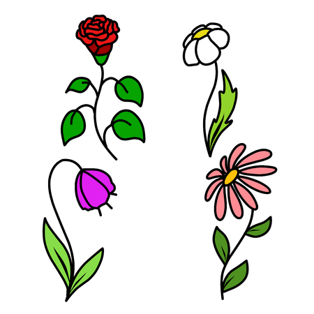 Stock Illustration Set of four flowers on a White Background