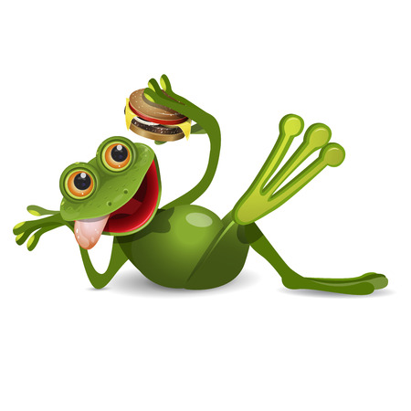 Stock Illustration Frog Lies with Cheeseburger on a White Background