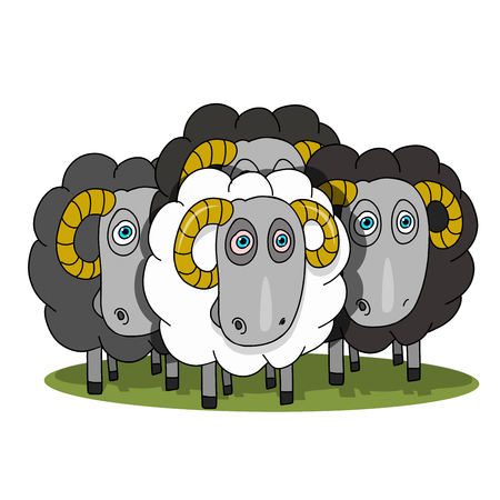 Stock Illustration Herd of Rams on a White Background Ilustração