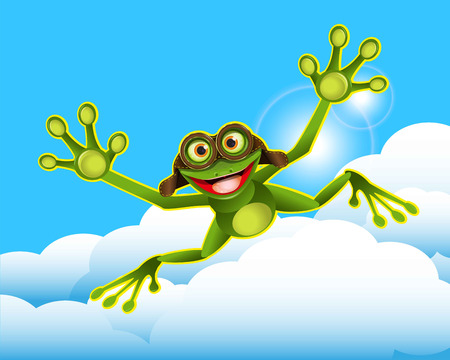 Stock Illustration Frog Flying in the Clouds Иллюстрация