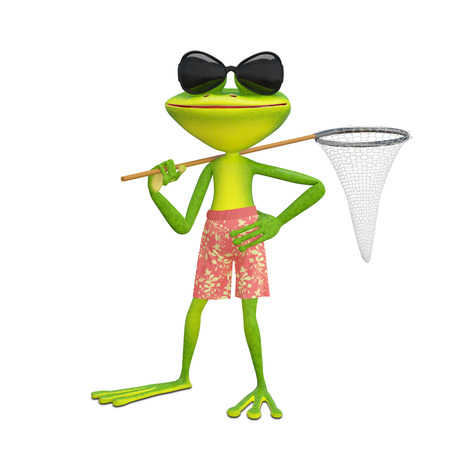 3D Illustration of a Frog with a Butterfly Net on a White Background Editorial