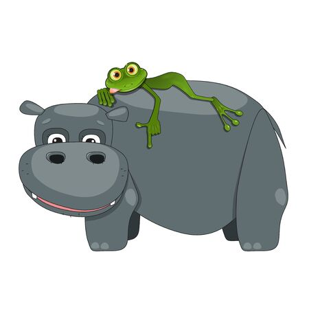 Illustration of a Green Frog on a Hippo on a White Background Ilustracja