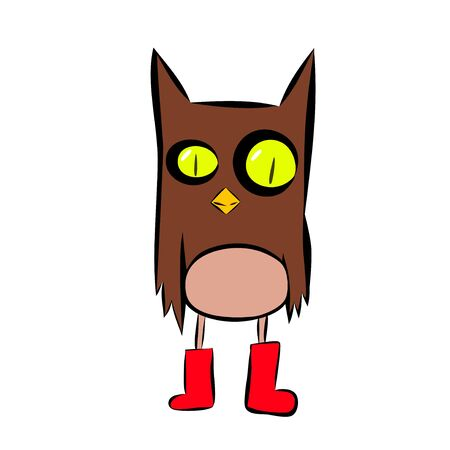 Stock Illustration Cartoon Owl in Red Shoes on a White Background