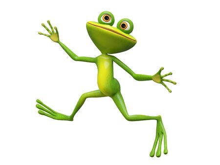 3D Illustration Funny Stupid Frog Jumping on a White Background