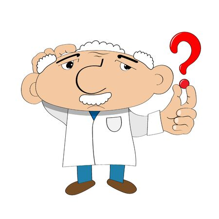 Stock Illustration Cartoon Scientist with Question Mark on a White Background