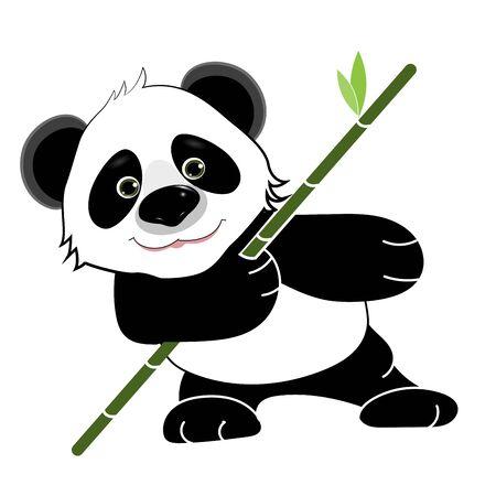 Stock Illustration Terrible Cute Cartoon Panda on a White Background