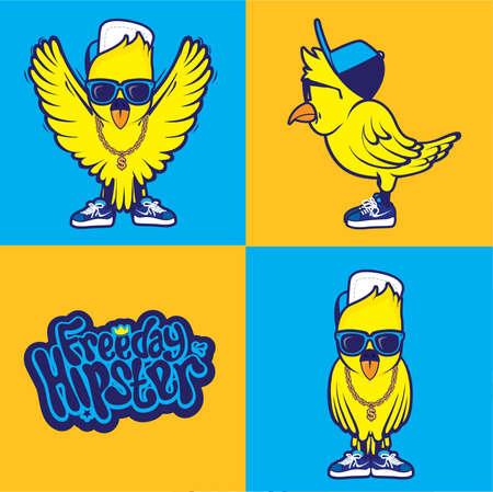 Hipster bird cool Vector