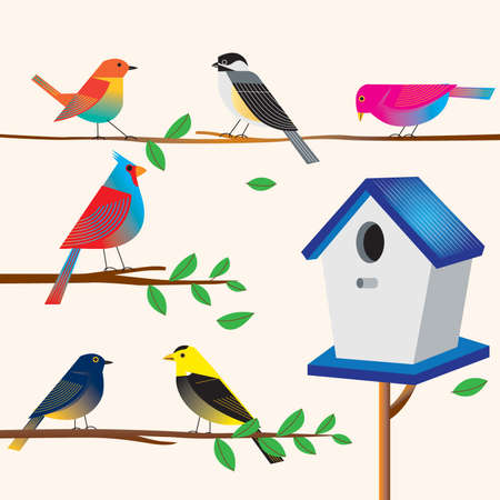 Cute bird set with house Illustration