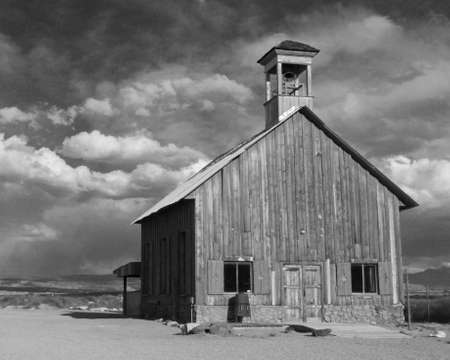 One room frontier schoolhouse in the American Southwest Stock Photo