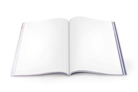Open Magazine met lege witte pagina's op een witte achtergrond. Bestand bevat paden voor elke pagina.