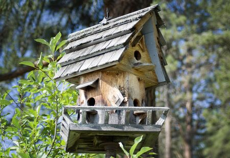 Handgemaakte houten birdhouse in het forest Stockfoto