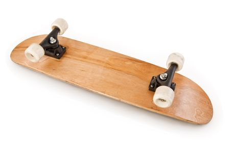 skateboarding: Bottom of a skateboard deck with trucks and wheels showing on a white background