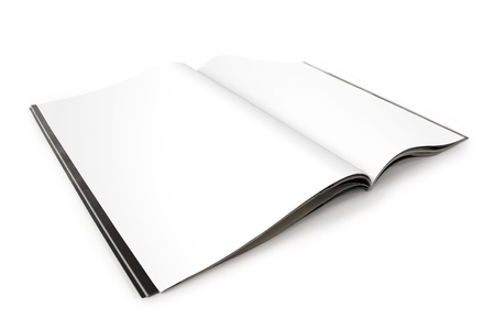mock up: Open Magazine with Blank White Pages Stock Photo