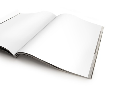 spread: Open Magazine with Blank White Pages Stock Photo