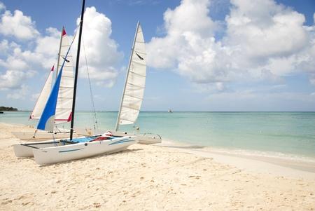 Op het strand trok Hobie catamaran-zeilboten