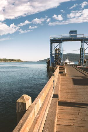Wooden pier and ferry dock in the pacific northwest San Juan Islands