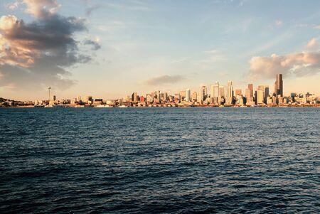 Seattle city skyline from West Seattle looking over Elliot Bay