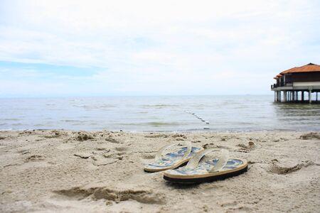 Flip Flops on Beach Stock Photo