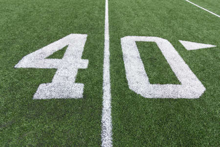 40: Numbers on a football field. 40.