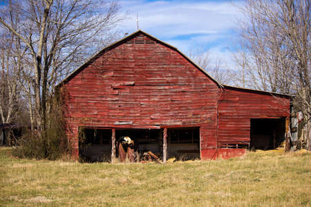 barns winter: Old, Red Barn Stock Photo
