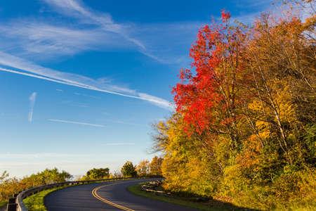 north ridge: Linn Cove Viaduct, part of the Blue Ridge Parkway in North Carolina during autumn.