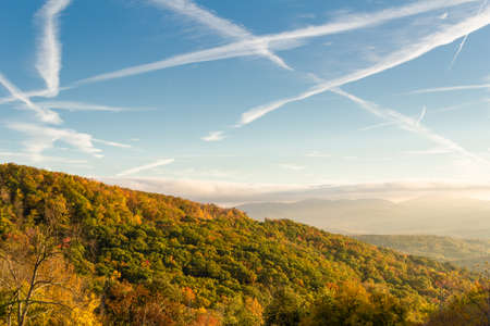 north ridge: Blue Ridge Mountains at early morning from the Blue Ridge Parkway in western North Carolina. Stock Photo