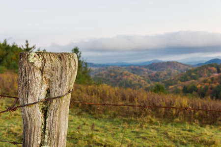 north ridge: Barbed wire fence on the Blue Ridge Parkway in North Carolina. Stock Photo