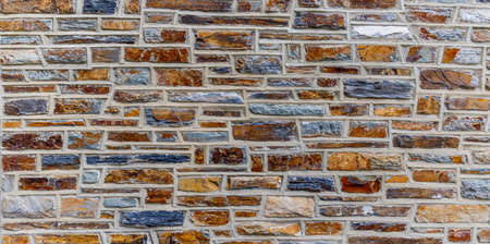 Colorful Stone Wall for background at Duke University. Stock Photo