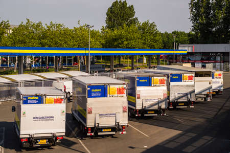 Macro delivery vehicles in row Editorial