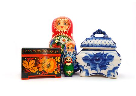 Set of different russian souvenirs on a white background. photo